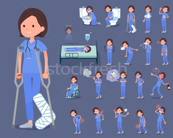 flat type surgical operation blue wear women_sickness Stock photo © toyotoyo