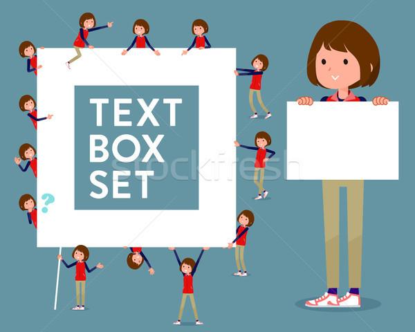 flat type Store staff red uniform women_text box Stock photo © toyotoyo