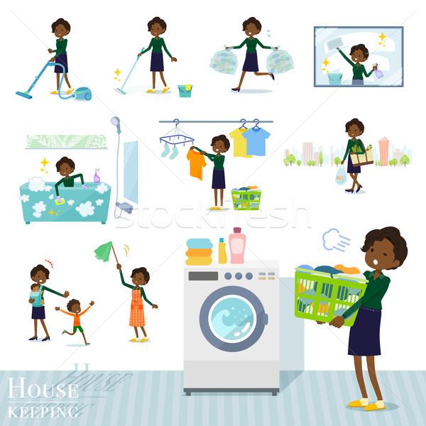 flat type business black women_housekeeping Stock photo © toyotoyo