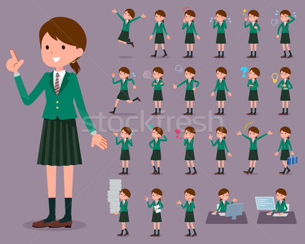 Iskolás lány zöld nők diák fut Stock fotó © toyotoyo