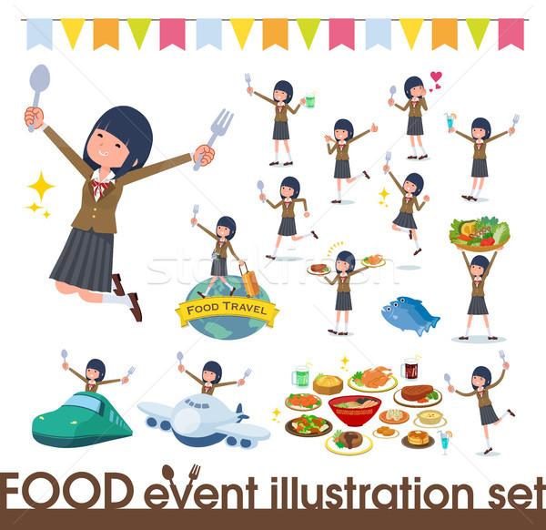 Iskolás lány barna fesztivál szett étel Stock fotó © toyotoyo