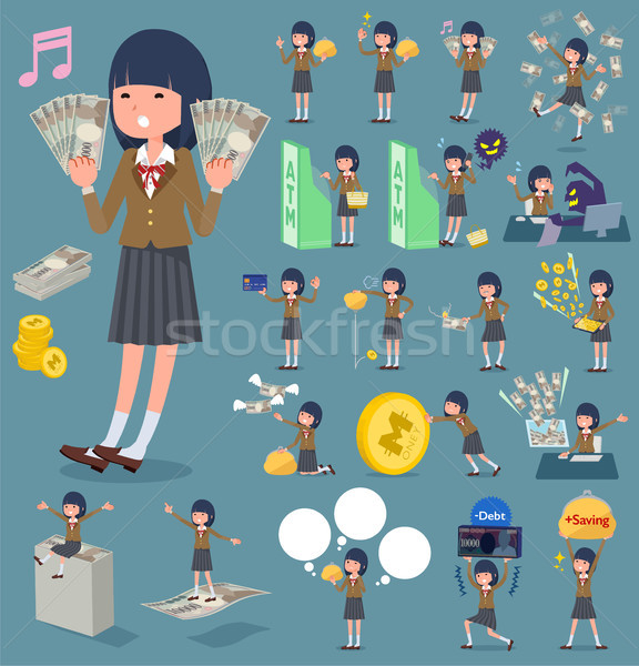 flat type school girl Brown Blazer_money Stock photo © toyotoyo