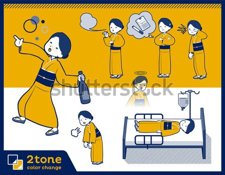 flat type yellow ocher kimono  women_sickness Stock photo © toyotoyo