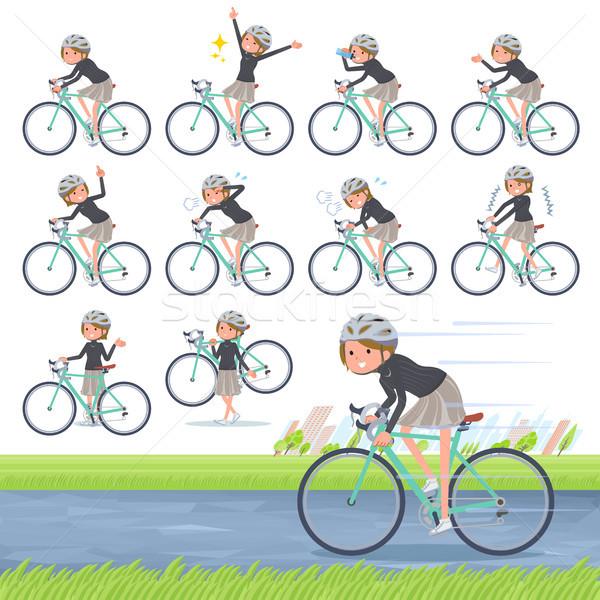 Сток-фото: тип · короткие · волосы · велосипедов · набор · женщины · дороги
