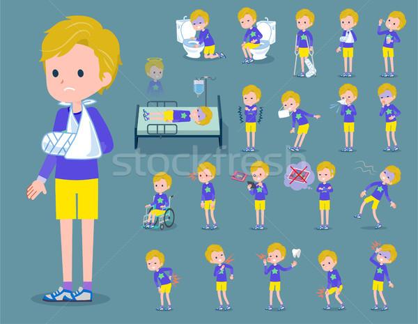 Type blond haren jongen kinderen geneeskunde Stockfoto © toyotoyo