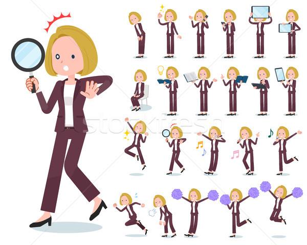flat type blond hair business women_Action Stock photo © toyotoyo