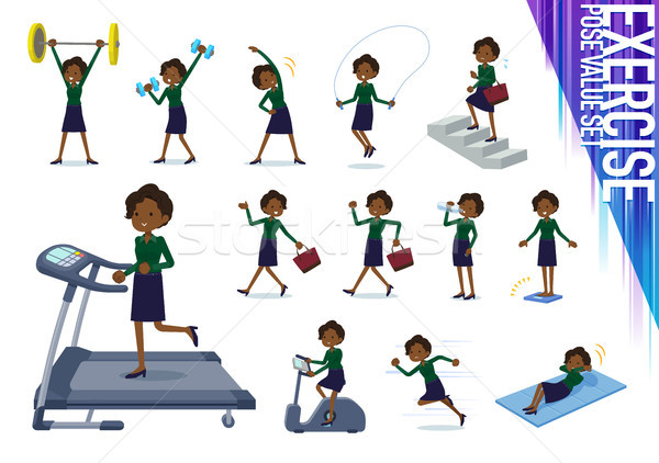 Type business zwarte ingesteld vrouwen oefening Stockfoto © toyotoyo