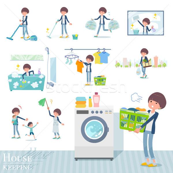 Type haren ingesteld vrouwen huishouding schoonmaken Stockfoto © toyotoyo