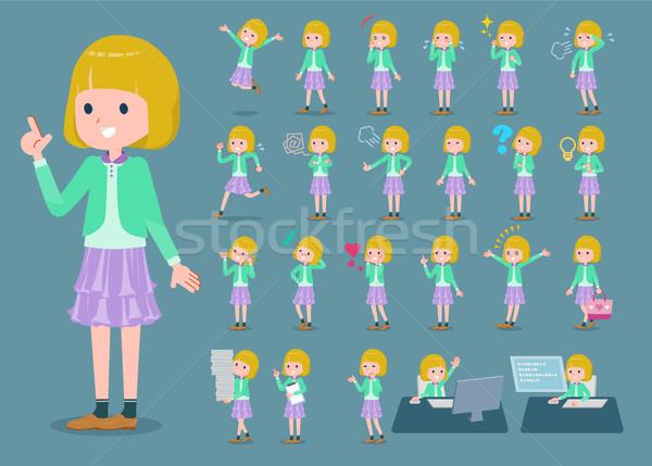 Type blond haren meisje familie glimlach Stockfoto © toyotoyo