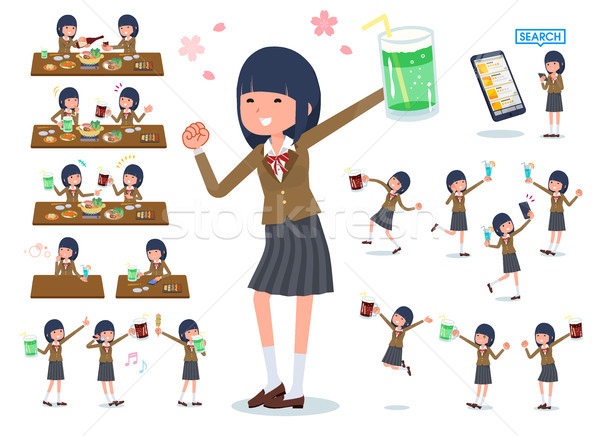 flat type school girl Brown Blazer_party Stock photo © toyotoyo