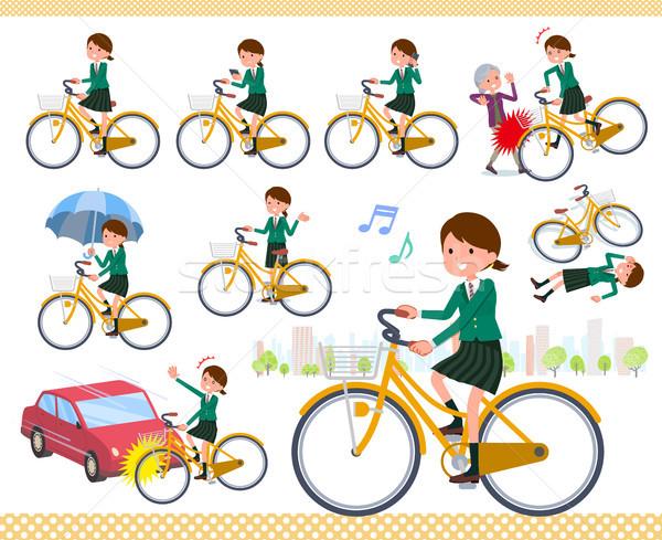 Typu uczennica zielone cyklu zestaw jazda konna Zdjęcia stock © toyotoyo