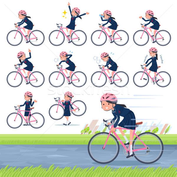 Iskolás lány matróz bicikli szett út Stock fotó © toyotoyo