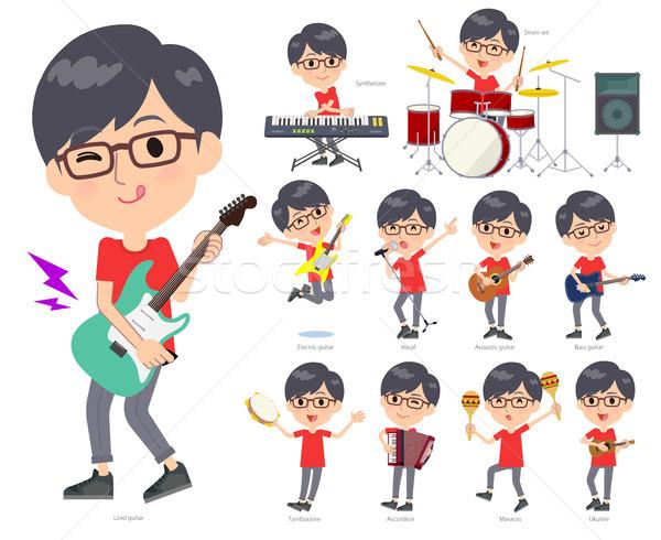 Rood tshirt muziek ingesteld dragen mannen Stockfoto © toyotoyo