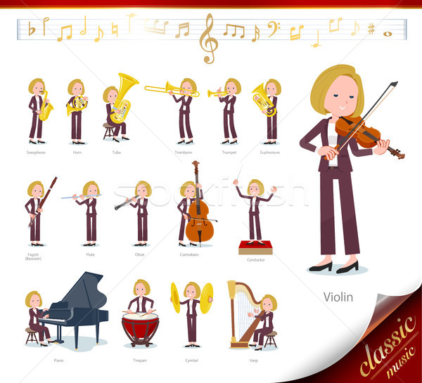 flat type blond hair business women_classic music Stock photo © toyotoyo