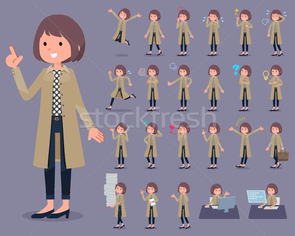 flat type Stand Fall Collar coat wear women_1 Stock photo © toyotoyo