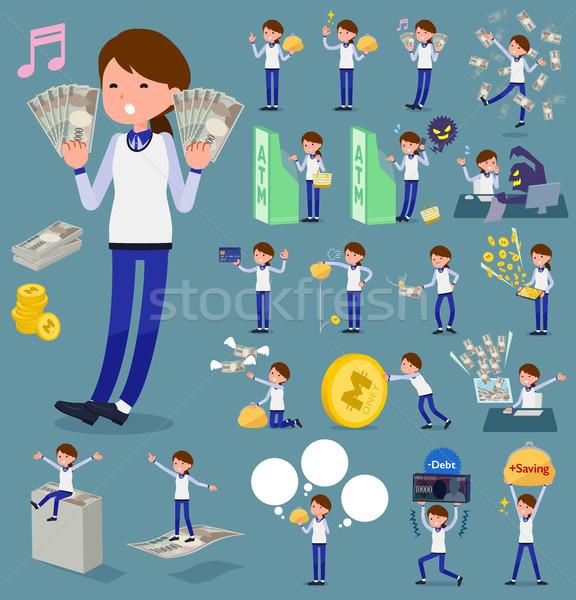 Tipo tienda personal azul uniforme mujeres Foto stock © toyotoyo