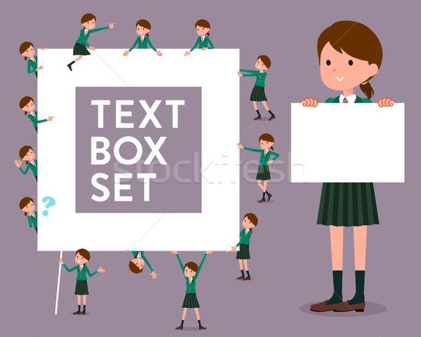Iskolás lány zöld doboz nők terv Stock fotó © toyotoyo