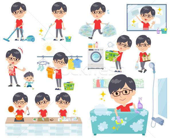 red Tshirt Glasse men_housekeeping Stock photo © toyotoyo