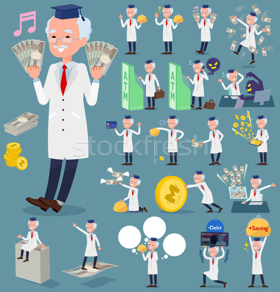 flat type Research Doctor old men_money Stock photo © toyotoyo