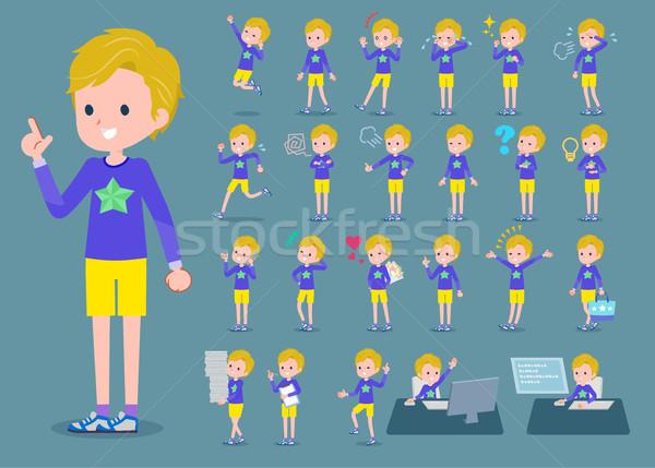 Type blond haren jongen kinderen gelukkig Stockfoto © toyotoyo