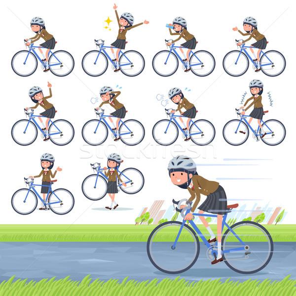 Typu uczennica brązowy rowerów zestaw drogowego Zdjęcia stock © toyotoyo