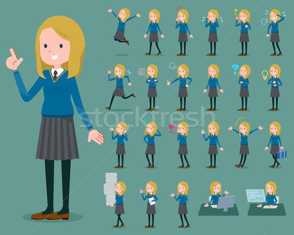 Typu uczennica kobiet student uruchomiony smutne Zdjęcia stock © toyotoyo