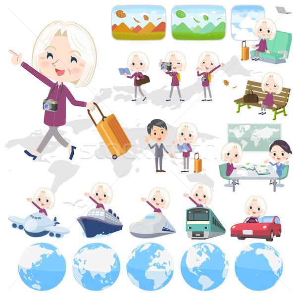 purple shirt old women White_travel Stock photo © toyotoyo
