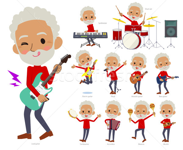 red high neck old man black_pop music Stock photo © toyotoyo