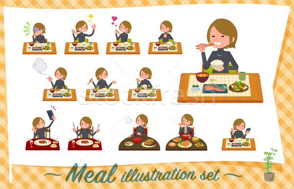 flat type Short hair women_Meal Stock photo © toyotoyo