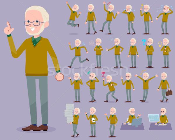 flat type Yellow Ocher knit old man White_1 Stock photo © toyotoyo