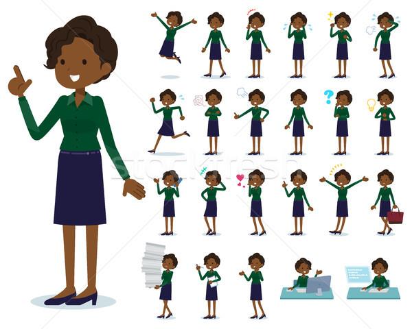 flat type business black women_emotion Stock photo © toyotoyo