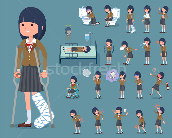 flat type school girl Brown Blazer_sickness Stock photo © toyotoyo