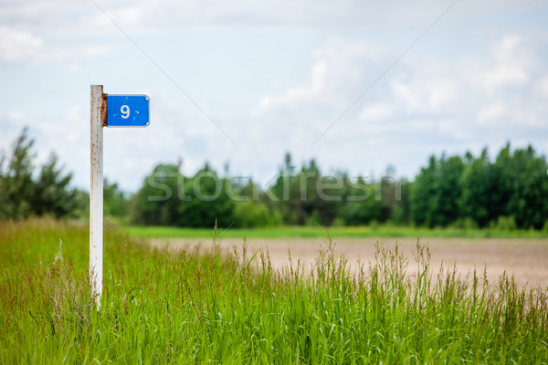 signpost in countryside landscape. image is retro filtered with faded style . Stock photo © traza