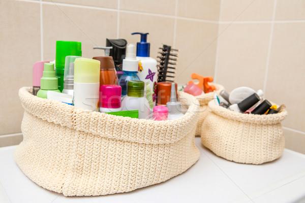 Twee make-up zak cosmetica oog gezicht Stockfoto © traza