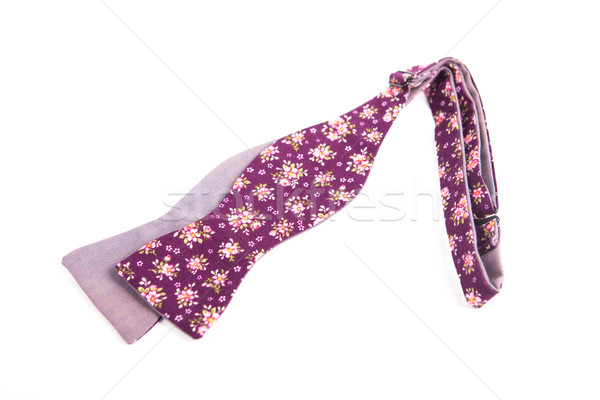 Stock photo: Flower colored bow tie isolated on white background