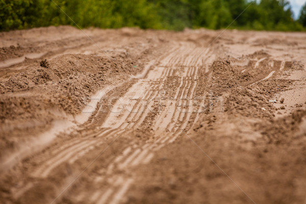 The trace of a tyre in the sand Stock photo © traza