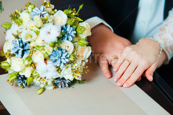 Young married couple holding hands, ceremony wedding day Stock photo © traza