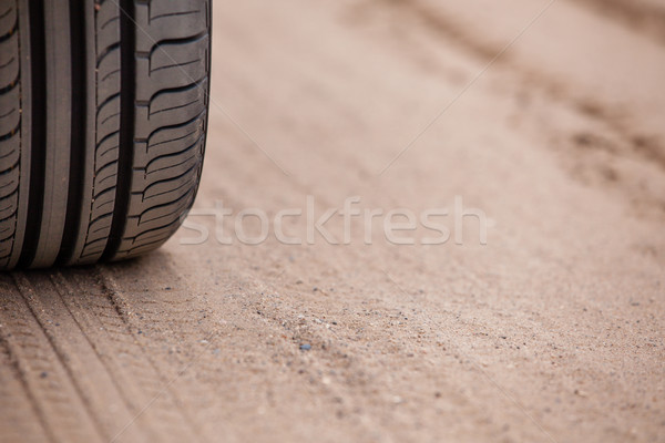trace of rubber tires SUV in the desert sand. Riding a four-wheel drive vehicles passable attracts m Stock photo © traza