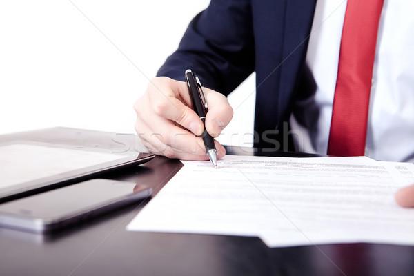 Ansicht Finger Mann schriftlich Dokument Stock foto © traza