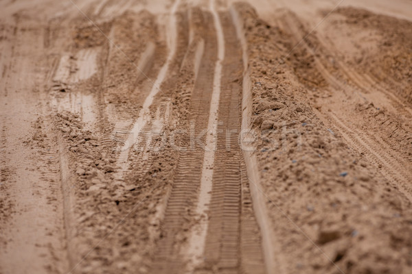 Tread pattern of a truck tire in soft soil Stock photo © traza
