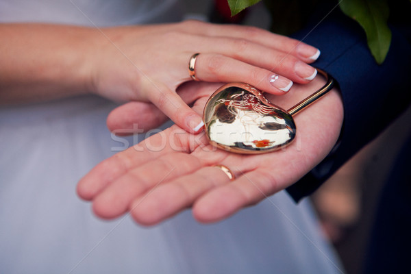 the couple holding hands in a heart-shaped lock Stock photo © traza