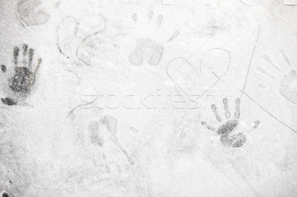 Hand prints in flour on dark background Stock photo © traza