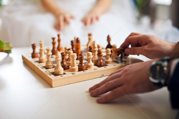 Man and woman playing chess Stock photo © traza