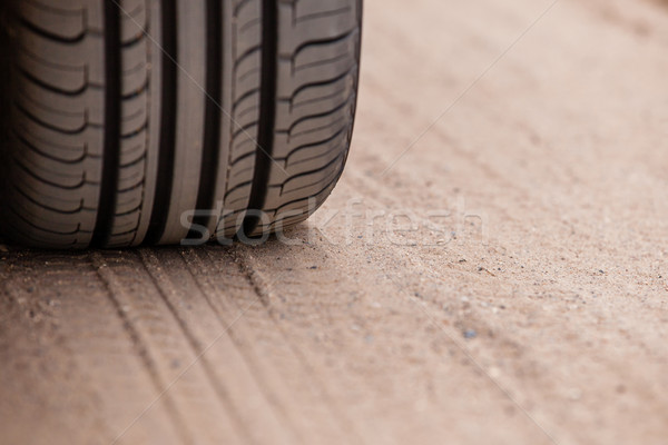 Detailed view of motion the wheels tires and off-road truck shaft that goes Stock photo © traza