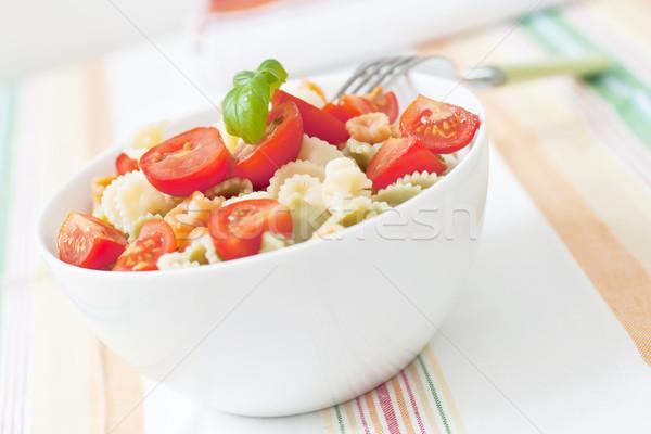 Makarna salata taze kiraz domates fesleğen gıda Stok fotoğraf © trexec