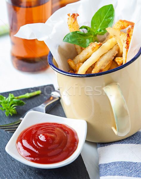 Batata servido vintage copo ketchup Foto stock © trexec