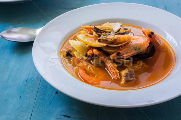 çorba beyaz çanak deniz ürünleri balık plaka Stok fotoğraf © trexec