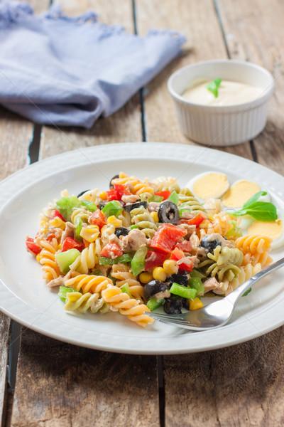 Italiano macarrão salada atum molho garfo Foto stock © trexec