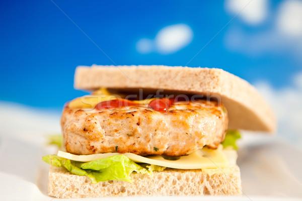 куриные Burger сочный домашний салата сыра Сток-фото © trexec