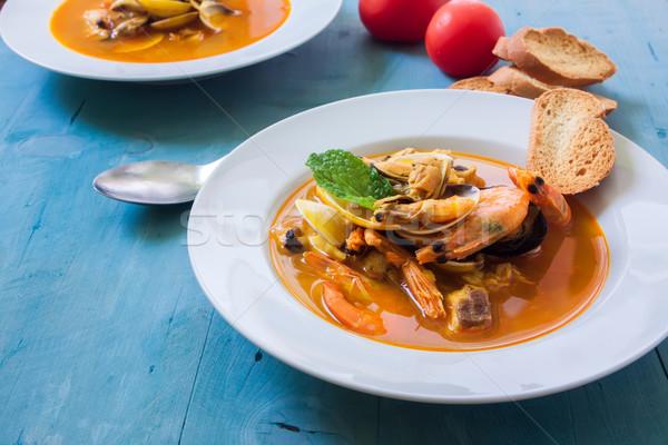 Soep witte kom zeevruchten vis plaat Stockfoto © trexec